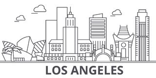 Los Angeles architecture line skyline illustration. Linear vector cityscape with famous landmarks, city sights, design. Icons. Editable strokes Royalty Free Stock Image
