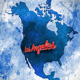 Los Angeles on Artistic Map Stock Photography