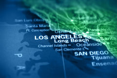 Los Angeles auf Karte Lizenzfreie Stockbilder