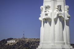 Monument at Griffith Observatory in Los Angeles stock images