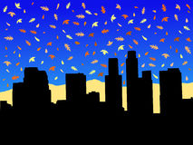Los Angeles in autumn. Los Angeles skyline in autumn with falling leaves illustration Stock Images