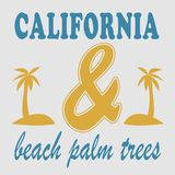 Los angeles beach palm trees typography Stock Image