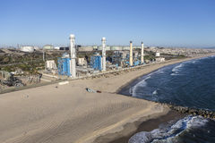 Los Angeles Beach Power Plant Stock Image