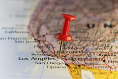Los Angeles-Bestimmungsortkarte, roter Stoßstift Lizenzfreie Stockfotografie