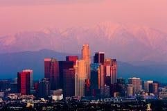 Los Angeles bij zonsondergang stock foto
