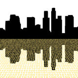 Los Angeles with binary code. Los Angeles skyline with binary perspective foreground Royalty Free Stock Photos