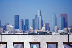 Los Angeles from a bridge. Stonewall frames downtown Los Angeles, California and infrastructure Royalty Free Stock Photography