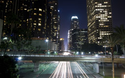 Los Angeles business district at night Royalty Free Stock Photography