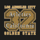 Los Angeles CA, atletics, golden, Mode Typografie lizenzfreie abbildung