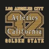 Los Angeles CA, atletics som är guld-, modetypografi royaltyfri illustrationer