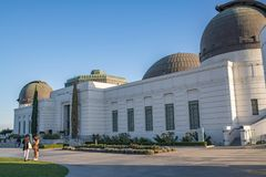 Los Angeles Griffith Observatory. Los Angeles, CA: February 16, 2018: Griffith Park Observatory in the Los Angeles area. The Griffith Observatory is a popular Stock Images