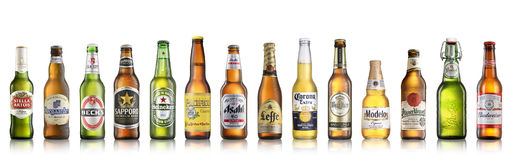 World popular beer brands. Los Angeles CA - July 6: Set of world popular beer brands isolated on white background Stock Image