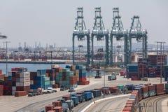 Tariffs and Trade War cargo shipping yard Stock Images