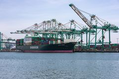 Tariffs and Trade War cargo container ship royalty free stock images