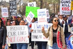 March for Our Lives Los Angeles Event. Los Angeles, CA - March 24, 2018: With calls to End gun violence, no more silence!  thousands of students and adults march Royalty Free Stock Photos