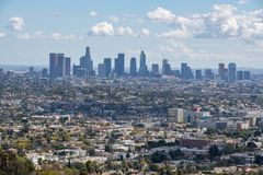 Los Angeles Downtown Skyline. Los Angeles, CA: March 14, 2018: Los Angeles skyline from the Griffith Park Observatory. Los Angeles is the United States`s second Royalty Free Stock Photography