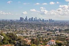 Los Angeles Downtown Skyline. Los Angeles, CA: March 14, 2018: Los Angeles skyline from the Griffith Park Observatory. Los Angeles is the United States`s second Stock Images