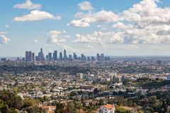 Los Angeles Downtown Skyline. Los Angeles, CA: March 14, 2018: Los Angeles skyline from the Griffith Park Observatory. Los Angeles is the United States`s second Stock Photography
