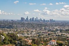 Los Angeles Downtown Skyline. Los Angeles, CA: March 14, 2018: Los Angeles skyline from the Griffith Park Observatory. Los Angeles is the United States`s second Royalty Free Stock Photo