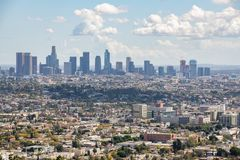 Los Angeles Downtown Skyline. Los Angeles, CA: March 14, 2018: Los Angeles skyline from the Griffith Park Observatory. Los Angeles is the United States`s second Royalty Free Stock Images
