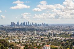 Los Angeles Downtown Skyline. Los Angeles, CA: March 14, 2018: Los Angeles skyline from the Griffith Park Observatory. Los Angeles is the United States`s second Royalty Free Stock Image