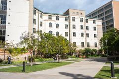 UCLA residence halls. Los Angeles, CA: May 7, 2017: Exterior of the UCLA resident halls. For 2016-2017, the cost of room and board in the UCLA resident halls is Royalty Free Stock Images