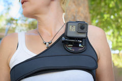 LOS ANGELES, CA - November 4: Woman Wearing A GoPro HERO5 Black On A Chest Harness November 4, 2016. Stock Photos