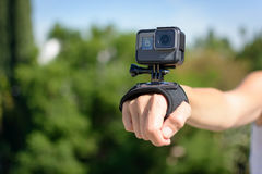LOS ANGELES, CA - November 4: Woman Wearing A GoPro HERO5 Black On Wrist Strap November 4, 2016. Royalty Free Stock Images