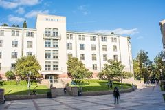 UCLA Residence Halls. Los Angeles, CA: October 20, 2017: Exterior of the UCLA resident halls. For 2017-2018, the cost of room and board in the UCLA resident Royalty Free Stock Image
