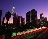 Los Angeles, CA skyline with Freeway. Abstract of the Harbor Freeway with Los Angeles skyline at night, California Stock Images