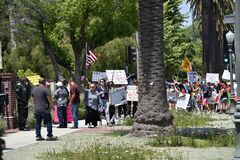 Coronavirus protesters at Mayor`s house in Los Angeles