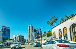 Traffic on sunset boulevard on a sunny day Royalty Free Stock Photography