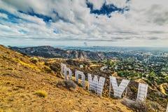 Hollywood sign under a cloudy sky. Los Angeles, CA, USA - October 28, 2016: Hollywood sign under a cloudy sky Stock Photos