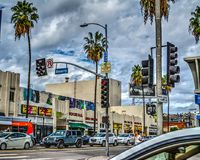 Traffic at Beverly and Fairfax crossroad. Los Angeles, CA, USA - October 28, 2016: Traffic at Beverly and Fairfax crossroad royalty free stock photos