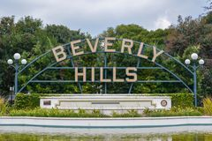 Los Angeles, Californië, de V.S. - 5 Januari, 2019: Beverly Hills Sign stock afbeelding