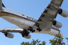 Luchtbus a-380 van Singapore Airlines Stock Afbeelding