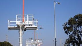 LOS ANGELES, CALIFORNIË, de V.S. - OCT negende, 2014: vliegtuig getoond kort voor het landen bij de La-LOSSE Luchthaven stock afbeeldingen