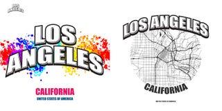 Los Angeles, Californië, twee embleemkunstwerken stock illustratie