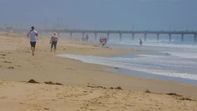 People walk on the Manhattan Beach in California. Los Angeles, California - April 2017: Unidentified people participate in healthy lifestyle Manhattan Beach stock video