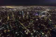 Los Angeles California Downtown Night Aerial Stock Image