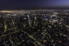 Los Angeles California Downtown Towers Night Aerial Royalty Free Stock Image