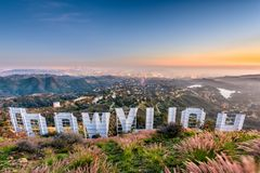 Hollywood Sign in LA. LOS ANGELES, CALIFORNIA - FEBRUARY 29, 2016: The Hollywood sign overlooking Los Angeles. The iconic sign was originally created in 1923 stock image