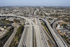 Los Angeles California 105 Freeway Aerial. Aerial view of the 105 freeway at the 110 freeway south of downtown in Los Angeles, California royalty free stock image