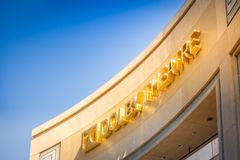 Dolby Theatre facade against blue sky. LOS ANGELES, CALIFORNIA - July 29, 2017: Facade of the Dolby Theatre Dolby Theatre aka Kodak Theatre is host of the stock images