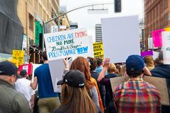 March for Our Lives movement`s march in Downtown Los Angeles. Los Angeles, California - March 24, 2018: March for Our Lives movement with protesters demanding Stock Images