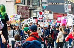 March for Our Lives movement`s march in Downtown Los Angeles. Los Angeles, California - March 24, 2018: March for Our Lives movement with protesters demanding Royalty Free Stock Images