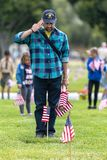 LOS ANGELES, CALIFORNIA - MAY, 26, 2018: Hundreds of scouts of a. Ll ages volunteered for the annual Memorial Day flag placement at the Los Angeles National Stock Image
