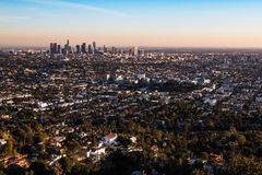 Aerial View of Los Angeles, California at Sunsent Royalty Free Stock Photography