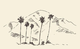 Los Angeles, California, Skyline Engraved Sketch Royalty Free Stock Images