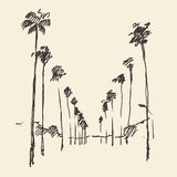 Los Angeles, California, Skyline Engraved Sketch Royalty Free Stock Photography